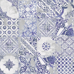 Carrelage imitation azulejo Ozone blue decor 60x60 - Rectifié - 1,773m²