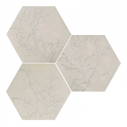 Carrelage hexagonal floral décor brillant OZONE IVORY DECOR 25x29 cm - 0.935m² Apavisa