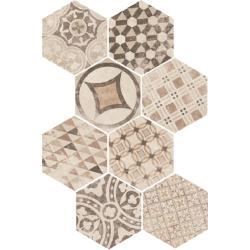 Carrelage tomette décoré 17.5x20 - HEXATILE GARDEN SAND - 22098 R10 - 0.71m²