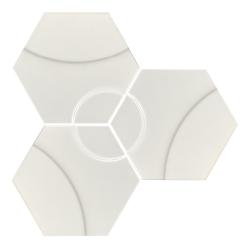 Carrelage hexagonal décors ronds INTUITION WHITE WAVES 25x30 cm - 0.935m²