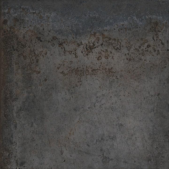 Carrelage effet métal oxydé pleine masse - ALCHIMIA NOIR 80X80 - Rectifié R9 - 1.28m² - zoom