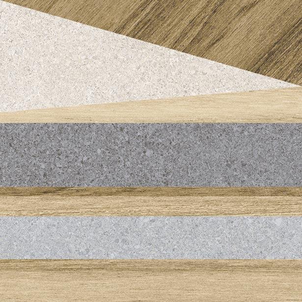 Carrelage aspect bois décoré - KOMI ERANAN-R MIEL 20X20 - 1m² - zoom