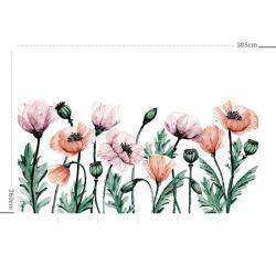 Papier peint design auto adhésif PANORAMIQUE - Dancing Poppies - plusieurs dimensions AP Decoration