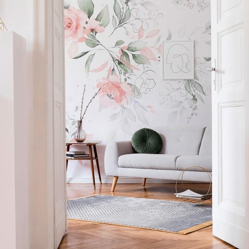 Papier peint design auto adhésif PANORAMIQUE - Dreaming Magnolias - plusieurs dimensions - zoom