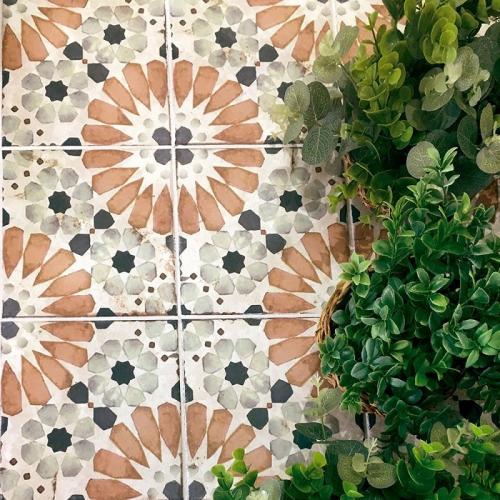 Carrelage aspect ciment décoré vieilli 20x20 cm STRYMON - 0.52 m² Nanda Tiles