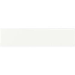 Faïence rectangulaire unie TARBERT WHITE GLOSS 7,5X30 - 0,63 m² Baldocer