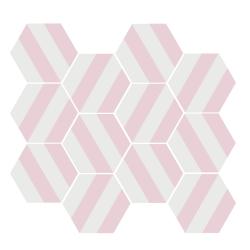 Tomette blanche à rayure MERAKI STRIPE ROSE 19.8x22.8 cm - 0.84m² Bestile