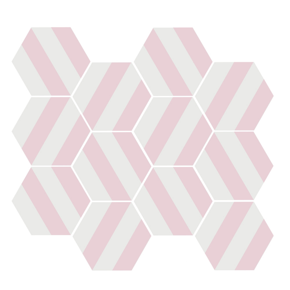 Tomette blanche à rayure MERAKI STRIPE ROSE 19.8x22.8 cm - 0.84m² - zoom
