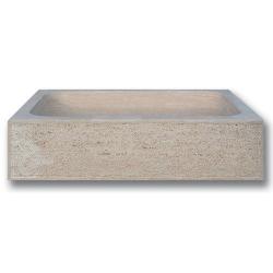 Évier 1 bac travertin beige face bouchardée bords droits 70x46x18 cm SF