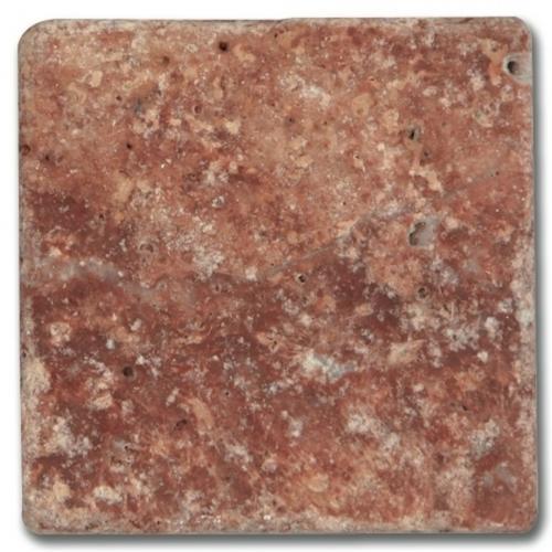 Carrelage pierre Travertin vieilli rouge 10x10 cm - 0.5m² - zoom