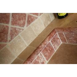 Carrelage pierre Travertin vieilli rouge 10x10 cm - 0.5m² SF