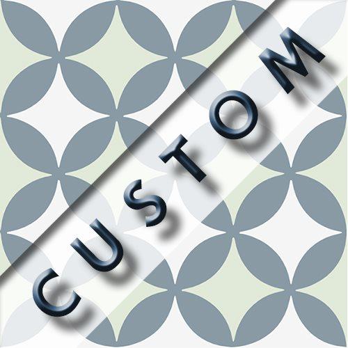 Carreau imitation ciment personnalisable 20x20 cm CUSTOM QUATRE FEUILLE R9 - 0.96m² - zoom