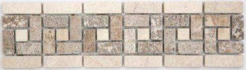 Frise pierre 505 Travertin Noce - Marbre Beige 28.5x7 cm - unité - zoom