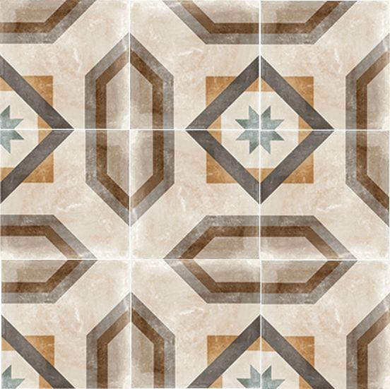 Carrelage imitation carreau de ciment ancien décor Grès Cérame 60x60 cm TEMPO CELENO - 1 - zoom