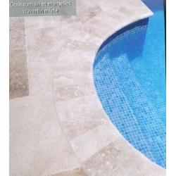 SET bain romain Margelles courbes rayon 150cm travertin beige veilli Nd