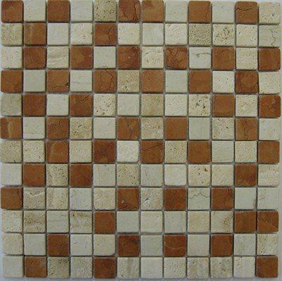 Mosaique marbre creme rosso 2.3x2.3 cm - unité - zoom