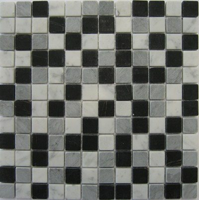 Mosaique marbre noir gris blanc 2.3x2.3 cm - unité - zoom