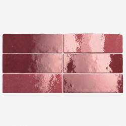 Carrelage effet zellige 6.5x20 ARTISAN ROUGE BURGUNDY 24467 - 0.5m² Equipe