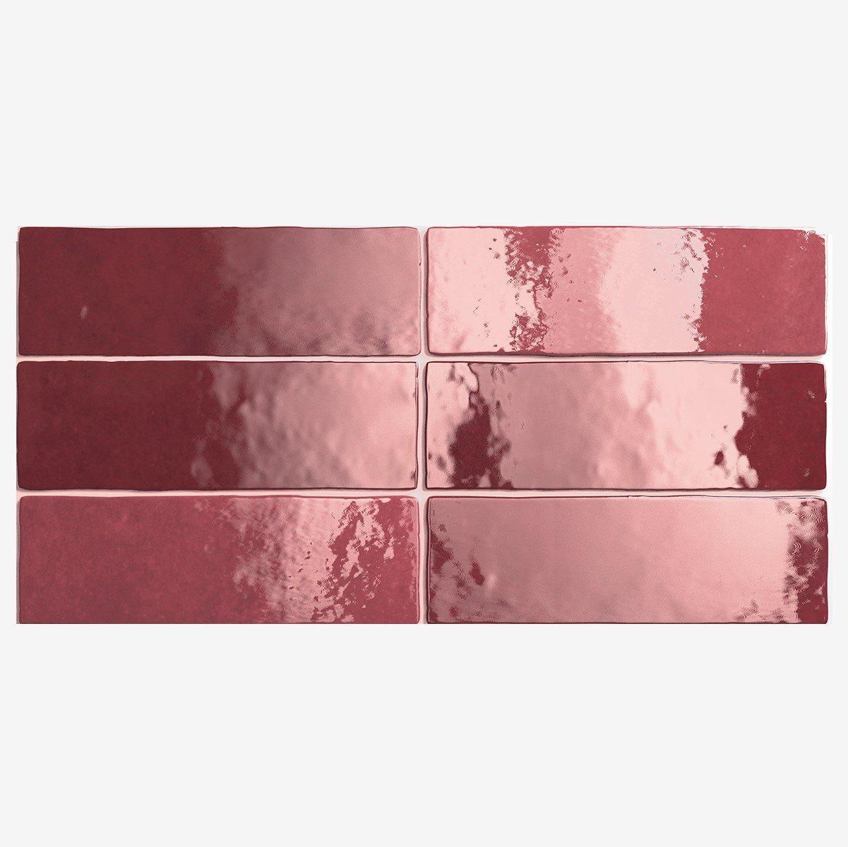 Carrelage effet zellige 6.5x20 ARTISAN ROUGE BURGUNDY 24467 - 0.5m² - zoom