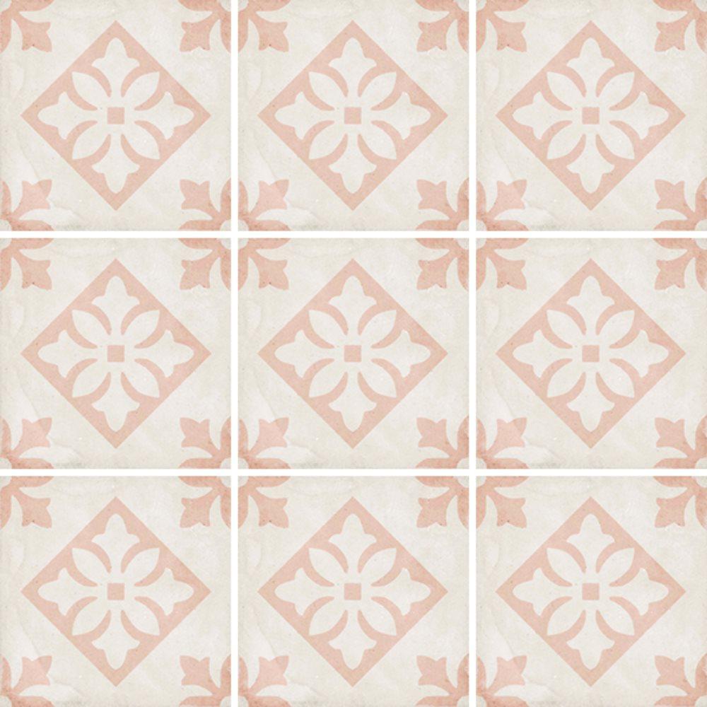 Carrelage style ciment décor rose 20x20 cm ART NOUVEAU PADUA PINK 24407 - 1m² - zoom