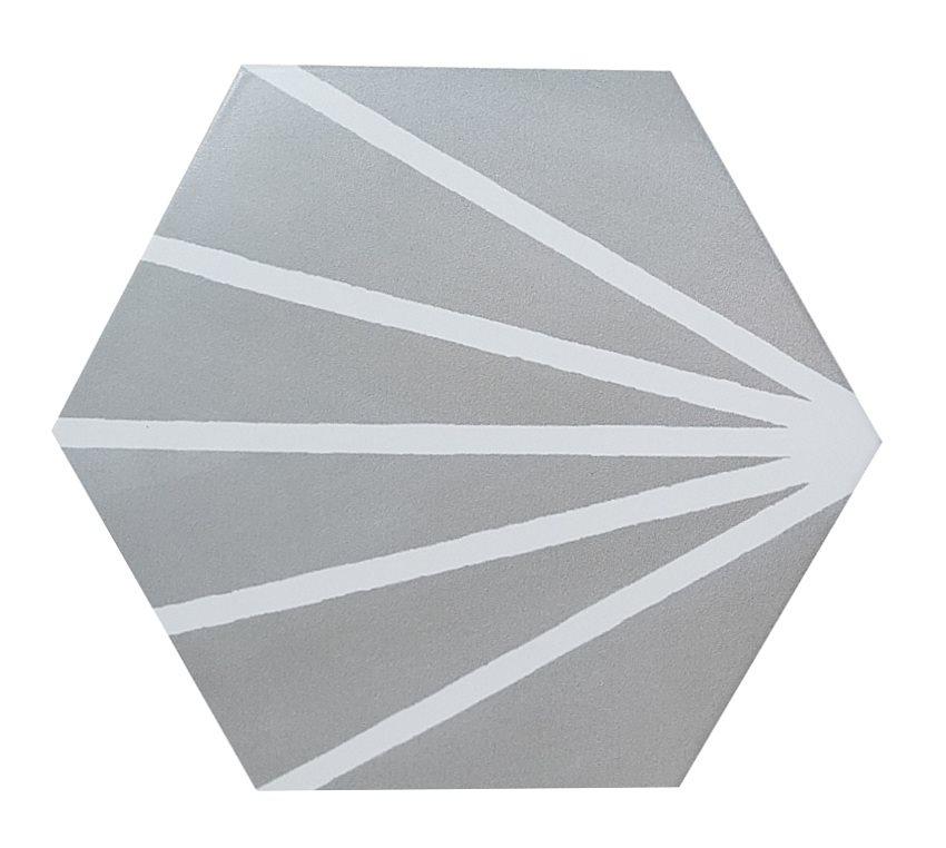 Tomette grise motif dandelion MERAKI GRIS -19.8x22.8 cm - 0.84m² - zoom