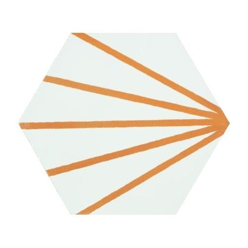 Tomette blanche à rayure orange motif dandelion MERAKI LINE MOSTAZA 19.8x22.8 cm - 0.84m² Bestile