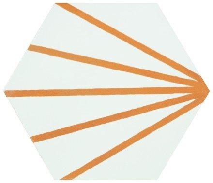 Tomette blanche à rayure orange motif dandelion MERAKI LINE MOSTAZA 19.8x22.8 cm - 0.84m² - zoom