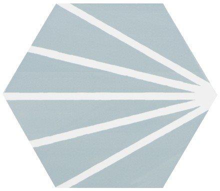 Tomette bleue clair motif dandelion MERAKI AGUAMARINA 19.8x22.8 cm - 0.84m² - zoom