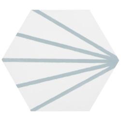 Tomette blanche à rayure turquoise motif dandelion MERAKI LINE AGUAMARINA 19.8x22.8 cm - 0.84m² Bestile