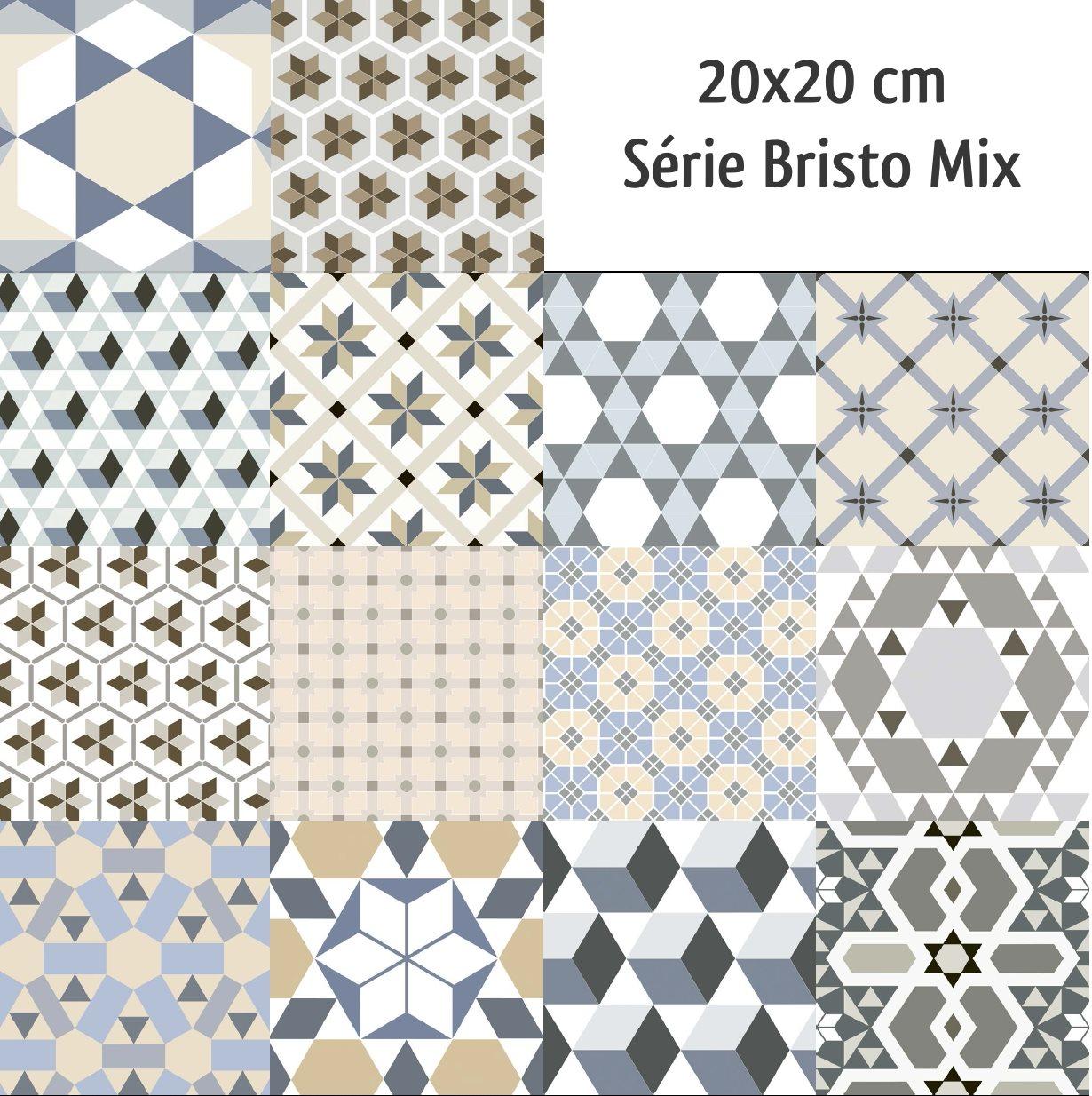Carrelage imitation ciment mix 20x20 cm BISTRO - 1m² - zoom