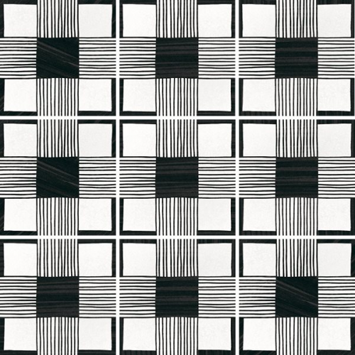 Carrelage imitation ciment 20x20 cm CAPRICE DECO CLOTH B&W 22124- 1m² Equipe