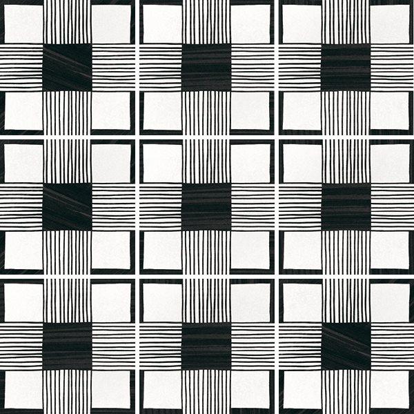 Carrelage imitation ciment 20x20 cm CAPRICE DECO CLOTH B&W 22124- 1m² - zoom
