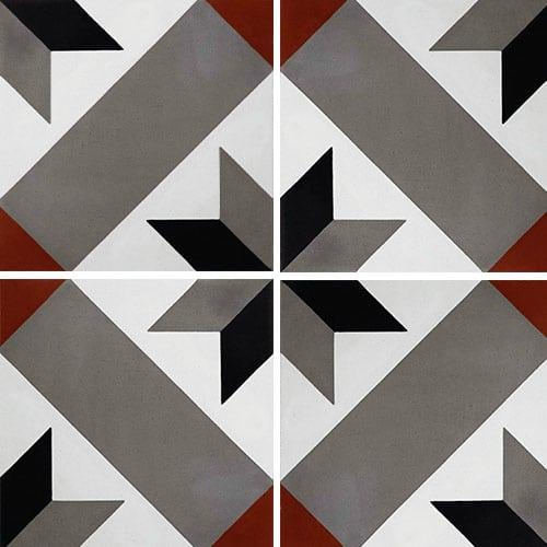 Carreau de ciment décor géométrique gris rouge 20x20 cm ref1150-4 - 0.48m² - zoom