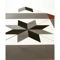 Carreau de ciment décor géométrique gris rouge 20x20 cm ref1150-4 - 0.48m² Carreaux ciment véritables