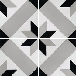 Carreau de ciment décor géométrique gris 20x20 cm ref1150-7 - 0.48m² Carreaux ciment véritables