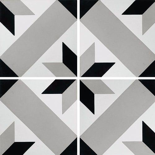 Carreau de ciment décor géométrique gris 20x20 cm ref1150-7 - 0.48m² - zoom