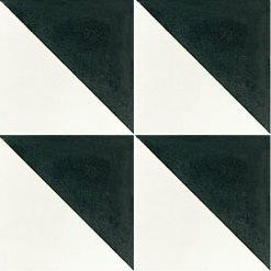 Carreau de ciment triangle noir et blanc 20x20 cm ref350-1 - 0.48m² - zoom