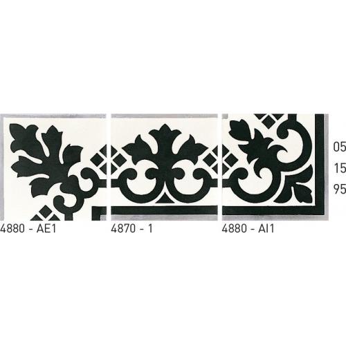 Carreau de ciment frise noir et blanc 20x20 cm ref4880 - Unité Carreaux ciment véritables