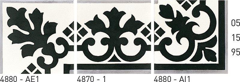 Carreau de ciment frise noir et blanc 20x20 cm ref4880 - Unité - zoom