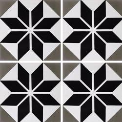 Carreau de ciment décor étoile noire 20x20 cm ref7070-2 - 0.48m² Carreaux ciment véritables