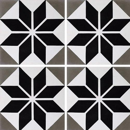 Carreau de ciment décor étoile noire 20x20 cm ref7070-2 - 0.48m² - zoom
