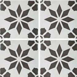 Carreau de ciment décor étoile fleur grise 20x20 cm ref7190-1 - 0.48m² Carreaux ciment véritables