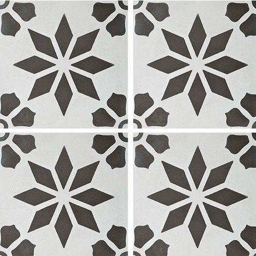 Carreau de ciment décor étoile fleur grise 20x20 cm ref7190-1 - 0.48m² - zoom