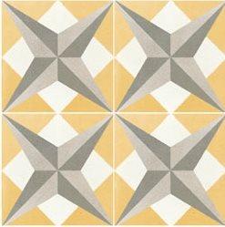 Carreau de ciment étoile jaune géométrique 20x20 cm ref7210-1 - 0.48m² - zoom