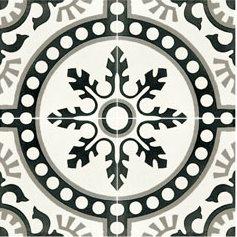 Carreau de ciment décor rosace noire 20x20 cm ref7620-1 - 0.48m² - zoom
