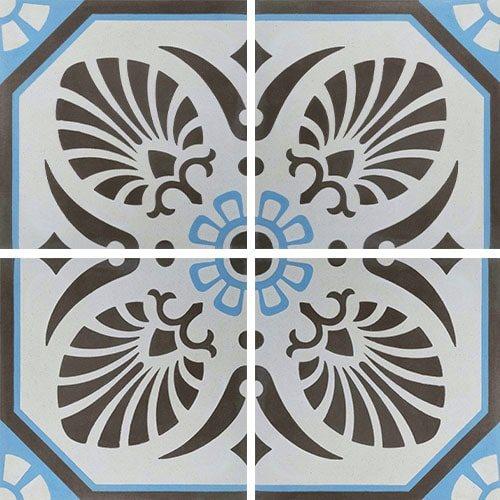 Carreau de ciment décoré gris bleu 20x20 cm ref7690-2 - 0.48m² - zoom