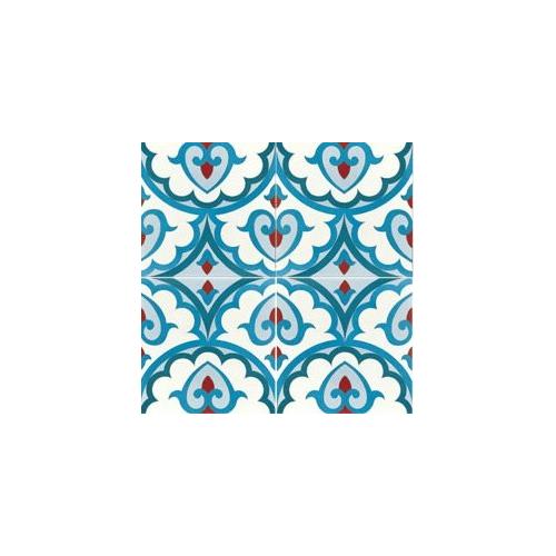 Carreau de ciment décor bleu rouge géométrique 20x20 cm ref7920-2 - 0.48m² Carreaux ciment véritables