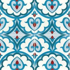 Carreau de ciment décor bleu rouge géométrique 20x20 cm ref7920-2 - 0.48m² - zoom
