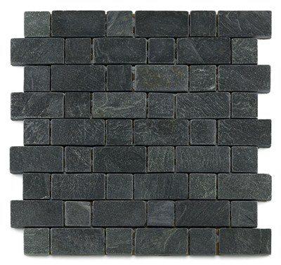 Mosaique ardoise noire 3x3 - 4.8 cm - unité - zoom