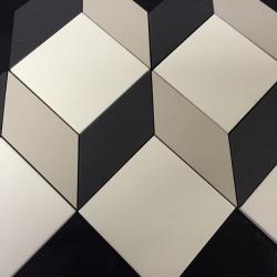 Carrelage cube géométrique pleine masse sur trame CUBO - 0.66m² CE.SI
